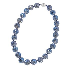 Tanzanite Colour Crystal (Rnd 17-19mm) Faceted Beads Necklace (Size 19.5) with Magnetic Lock