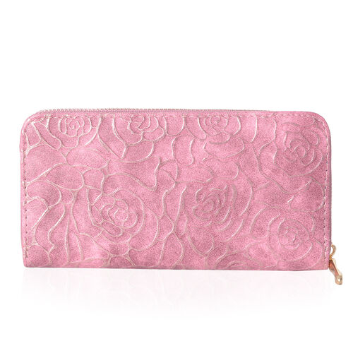 Designer Inspired-Pink Colour Golden Roses Embossed Rode Wallet With RFID (Size 19x10x2.5 Cm)