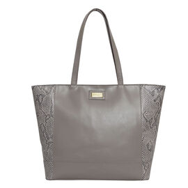 Assots London Animal Print Leather Tote Bag (Size 39x29x10.5cm) - Grey