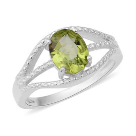 Hebei Peridot (Ovl) Ring in Sterling Silver 1.860 Ct.
