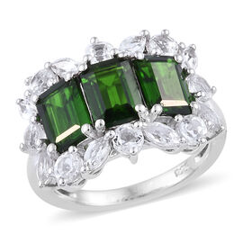 Rare Size Russian Diopside (Oct 7x5mm, 3.00 Ct.) and White Topaz Ring in Platinum Overlay Sterling S