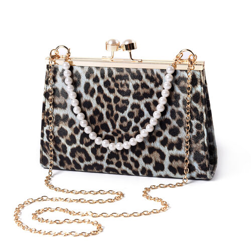 Light Blue Leopard Pattern Clutch Closure Crossbody Bag with Dangling Pearl Chain and Metallic Shoul
