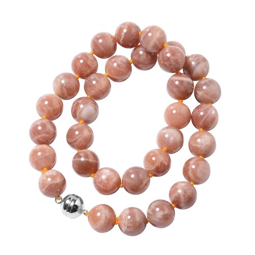 Peach Moonstone (Rnd 13-15 mm) Beads Necklace (Size 20) in Rhodium Overlay Sterling Silver with Magnetic Lock 595.50 Ct.