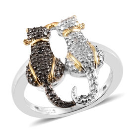 Black and White Diamond Twin Cat Ring in Platinum and Yellow Gold Overlay with Black Plating Sterling Silver