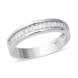 ELANZA Simulated Diamond (Oct) Half Eternity Band Ring in Rhodium Overlay Sterling Silver
