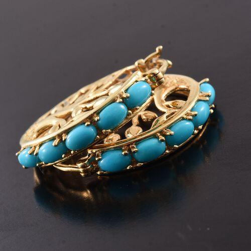 Arizona Sleeping Beauty Turquoise (Ovl) Tree of Life Hoop Earrings in 14K Gold Overlay Sterling Silver 2.250 Ct.