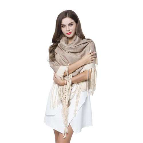 One Time Close Out Deal- Khaki and White Colour Scarf with Tassels (Size 190X70 Cm)