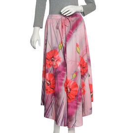 Summer Deal Pink and Multi Colour Flower Printed Flared Skirt (Size 100x76 Cm)