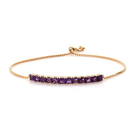 Designer Inspired- ASSCHER CUT Amethyst Bolo Bracelet (Size 6.5 to 9) in 14K Gold Overlay Sterling Silver 4.500 Ct, Silver wt 6.06 Gms.