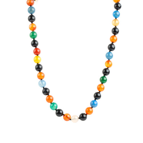 One Time Deal - Autumn Agate (Rnd) Beads Necklace with Magnetic Lock in Stainless Steel (Size 20)  325.500  Ct