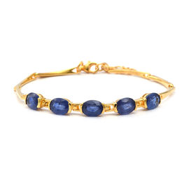 9.6 Ct Blue Sapphire 5 Stone Bracelet in Gold Plated Sterling Silver 7.1 Grams