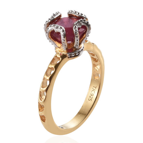 GP African Ruby (Rnd), Kanchanaburi Blue Sapphire Ring in Vermeil Yellow Gold with Platinum Overlay Sterling Silver 2.500 Ct.