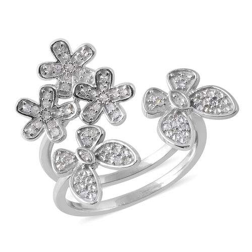 0.50 Ct Diamond Adjustable Two Finger Floral Ring in Platinum Plated Silver 5.70 Grams