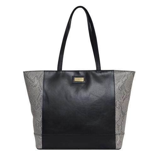 Assots London Animal Print Leather Tote Bag (Size 39x29x10.5cm) - Black