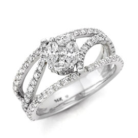 New York Close Out - 14K White Gold Diamond (Mrq) (I1-I2 /G-H) Ring 1 Ct Avg Diamond Weight.