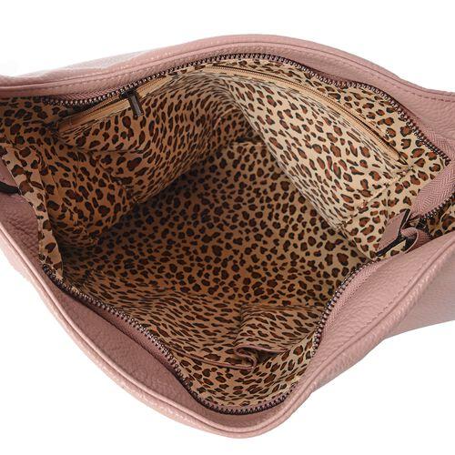 Close Out Deal 100% Genuine Leather Dusky Pink Colour Large Tote Bag with Adjustable Shoulder Strap (Size 39x36x33 Cm)