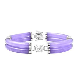 90.15 Ct Purple Jade and Amethyst Station Bracelet in Rhodium Plated Sterling Silver 7.5 Inch