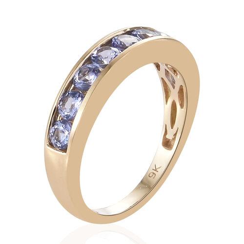 9K Yellow Gold AA Tanzanite (Rnd) Half Band Ring 1.150 Ct.