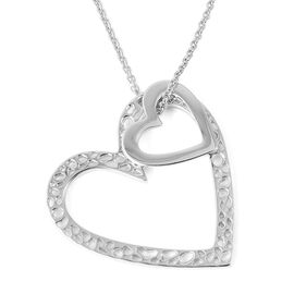 RACHEL GALLEY Rhodium Overlay Sterling Silver Heart Pendant With Chain (Size 30), Silver wt 14.71 Gms.