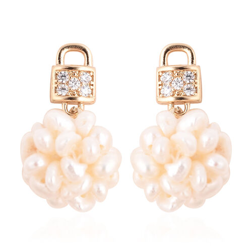 Freshwater White Pearl and Simulated Diamond Earrings (with Push Back) in Gold Tone