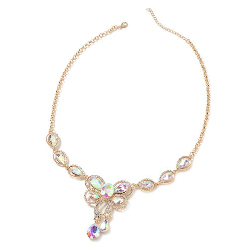 Magic Colour Simulated Aurora Borealis (Pear), White Austrian Crystal Drop Earrings (with Hook) and BIB Necklace (Size 21 and 2 inch Extender) in Yellow Plating