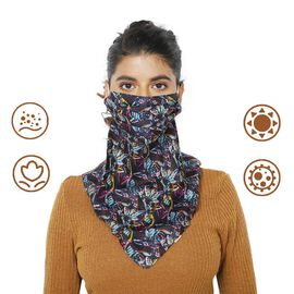 2-in-1 100% Silk Printed Soft Feel Scarf and Protective Face Mask (Size 43x43cm) - Blue