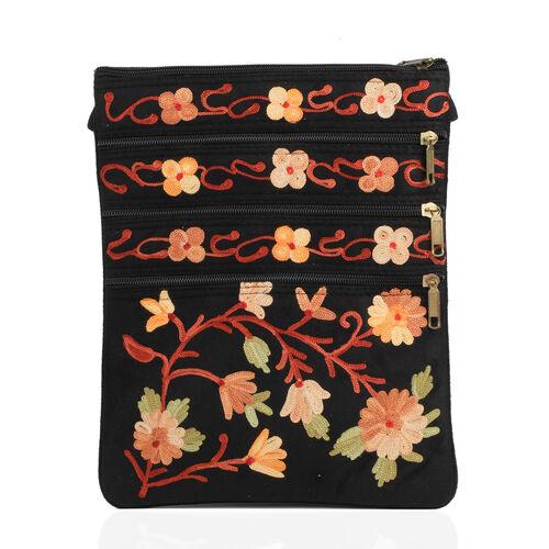 Multi Colour Flowers Embroidered Black Colour Suede Bag (Size 26x21 Cm)