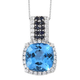 TJC Launch - Marambaia Topaz (Cush 22.20 Ct), Natural Cambodian Zircon and Kanchanaburi Blue Sapphire Pendant with Chain in Platinum Overlay Sterling Silver 26.250 Ct. Silver wt 8.37 Gms.
