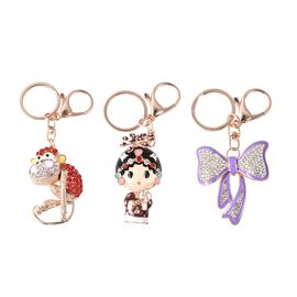 Set of 3 - Multicolour Austrian Crystal Monkey, Doll and Bow Enamelled Keychain in Rose Tone