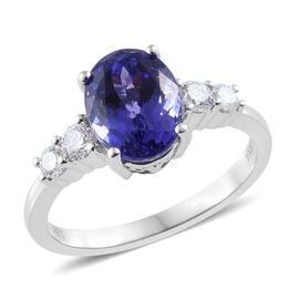 ILIANA 2.2 Ct AAA Tanzanite and Diamond Solitaire Design Ring in 18K White Gold 4.05 Grams SI GH