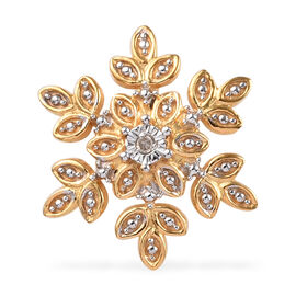 Diamond Snowflake Pendant in 14K Gold Plated Silver