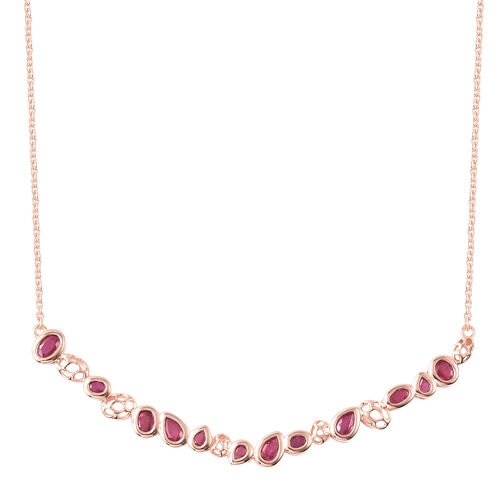 RACHEL GALLEY Misto Collection - African Ruby  Necklace (Size 20) in Rose Gold Overlay Sterling Silv