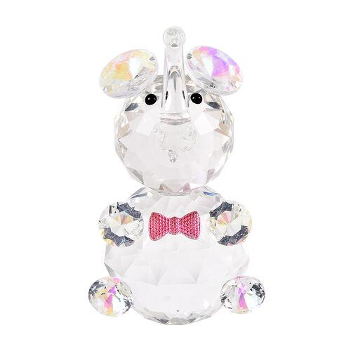 Decorative AB Crystal Glass Elephant with Pink Bowtie (7X6.5X11cm)