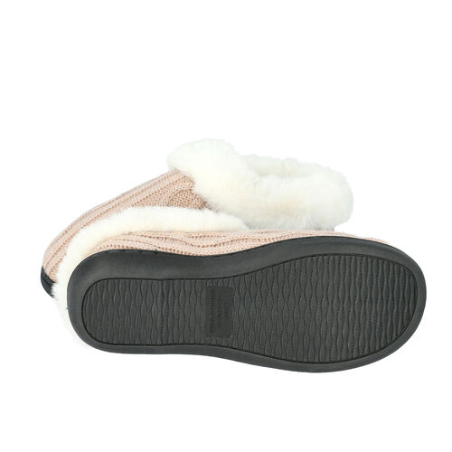 Knitted Slippers with Faux Fur (Size L: 7-8) - Dusty Pink