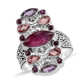 Sajen Silver Cultural Flair Collection - Rhodolite Garnet, Ruby Zoisite, Amethyst & Doublet Quartz E