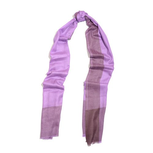 100% Cashmere Wool Purple Colour Scarf (Size 200x70 Cm)