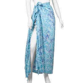 Bali Collection Handmade  Screen Printed Viscose Sarong (Size 165x120 Cm) - Sky Blue