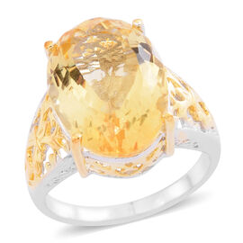 Rare AAA Uruguay Citrine (Ovl) Ring in Yellow Gold and Rhodium Plated Sterling Silver 10.000 Ct. Silver wt 5.00 Gms.