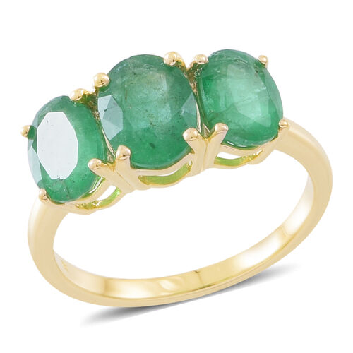 2.65 Ct AAA Kagem Zambian Emerald Trilogy Ring in 9K Gold 2 Grams