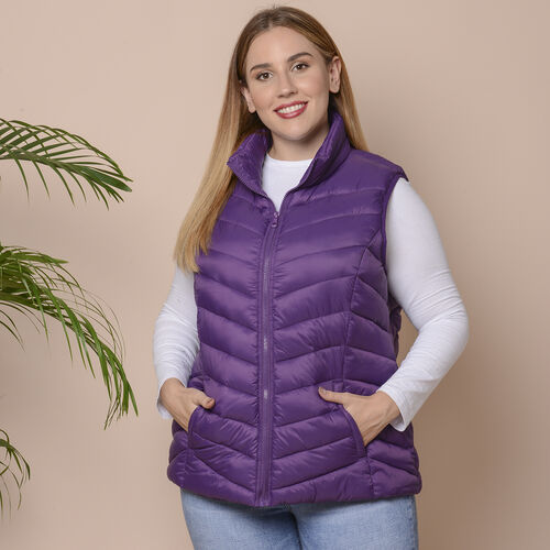 Winter Padded Gilet in Plum Purple Size: S (10-12)