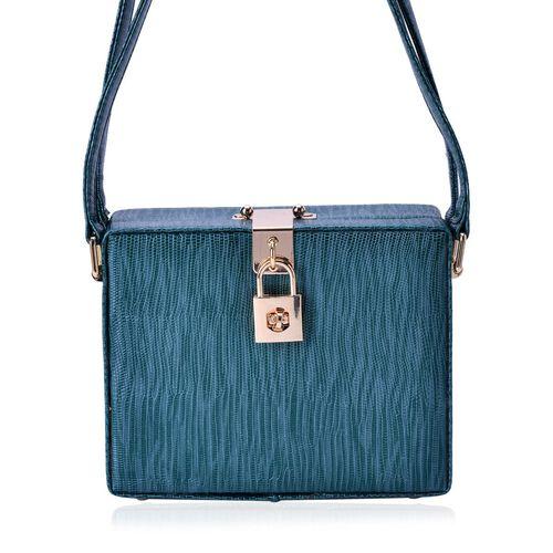 Debora Lizard Look Structured Ladylike Teal Blue Colour Bag (Size 20x14x13 Cm)