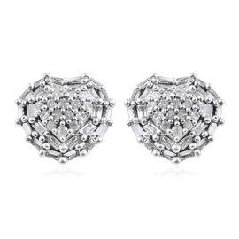 9K White Gold SGL Certified Diamond (Bgt and Rnd) (I3/G-H) Heart Stud Earrings (with Push Back) 0.50