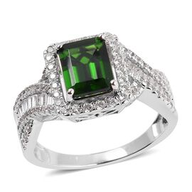 Collectors Edition- Extremely Rare Size Russian Diopside (Oct 9x7 mm) Natural Cambodian White Zircon Ring in Rhodium Overlay Sterling Silver 3.460 Ct.