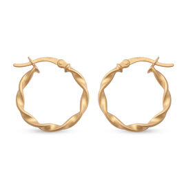 NY Close Out Deal - Yellow Gold Overlay Sterling Silver Hoop Earrings (with Clasp)