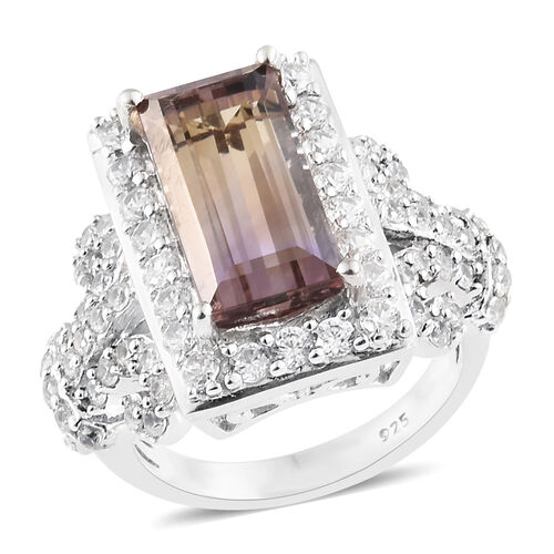 Natural Anahi Ametrine (Bgt 3.75 Ct), Natural White Cambodian Zircon Cluster Ring in Platinum Overla