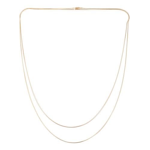 JCK Vegas Collection 14K Gold Overlay Sterling Silver Double Strand Snake Necklace (Size 60), Silver wt 9.00 Gms.