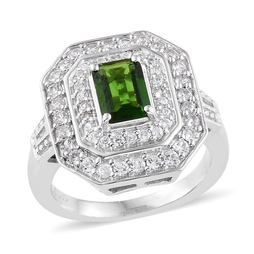 Limited Edition- Russian Diopside (Extremely Rare Oct 7x5 mm 1 Ct), Natural Cambodian Zircon and Diamond Ring in Platinum Overlay Sterling Silver 1.750 Ct.