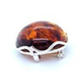 Natural Baltic Amber Brooch in Sterling Silver, Silver wt 9.93 Gms