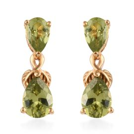 Chinese Peridot (2.25 Ct) 14K Gold Overlay Sterling Silver Earring  2.250  Ct.