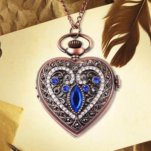 STRADA Japanese Movement Simulated Blue Sapphire, Multicolour Austrian Crystal Water Resistant Heart